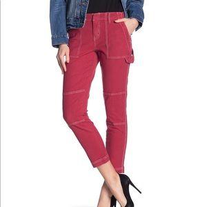 Joie Madelia brick red crop cargo utility pants
